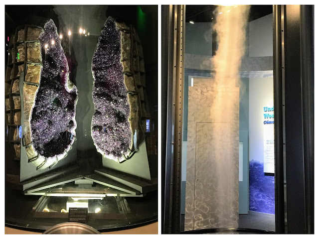 Amethyst geode and tornado machine at Perot Museum