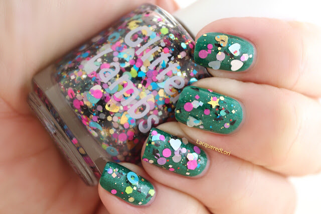 Custom Handmade Glitter Topper Nail Polishes- Indie Lacquer Hearts Stars Shapes Circles Dots Holographic Black Shreds Glitter Bomb Nails Pictures