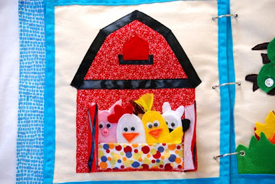 barn quiet book page finger puppets