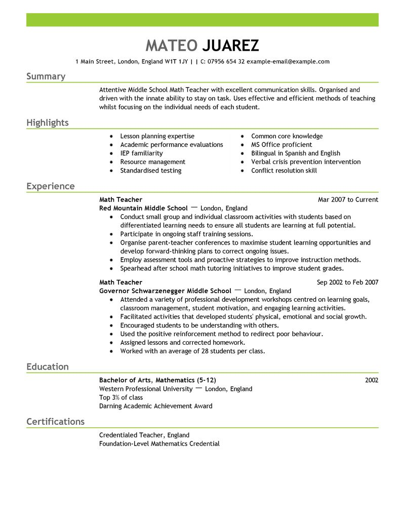 Sample Resume For Teachers Post | Breach Of Contract Letter Scotland