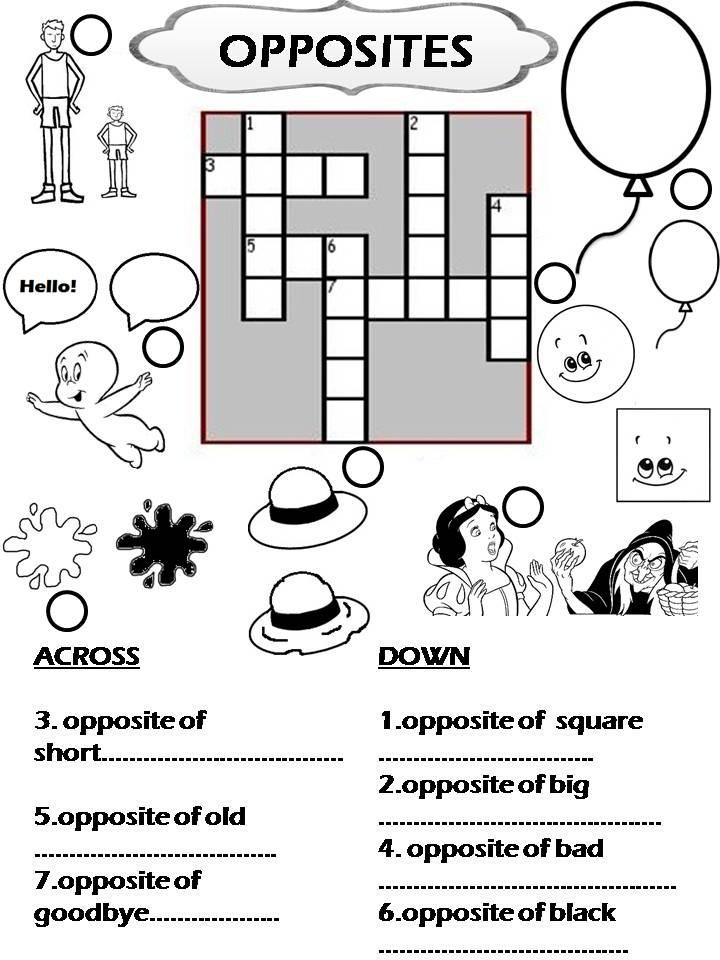 enjoy teaching english opposites crossword. Black Bedroom Furniture Sets. Home Design Ideas