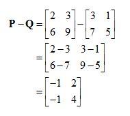 contoh Matriks pengurangan