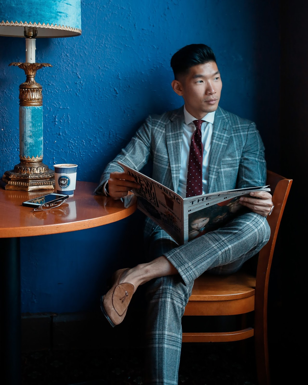 Leo Chan wearing Burgundy Tie for Fall Wedding Look | Asian Male Model and Blogger