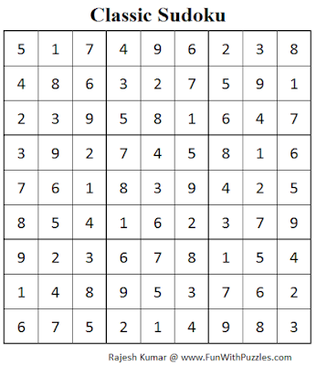 Classic Sudoku (Fun With Sudoku #79) Solution