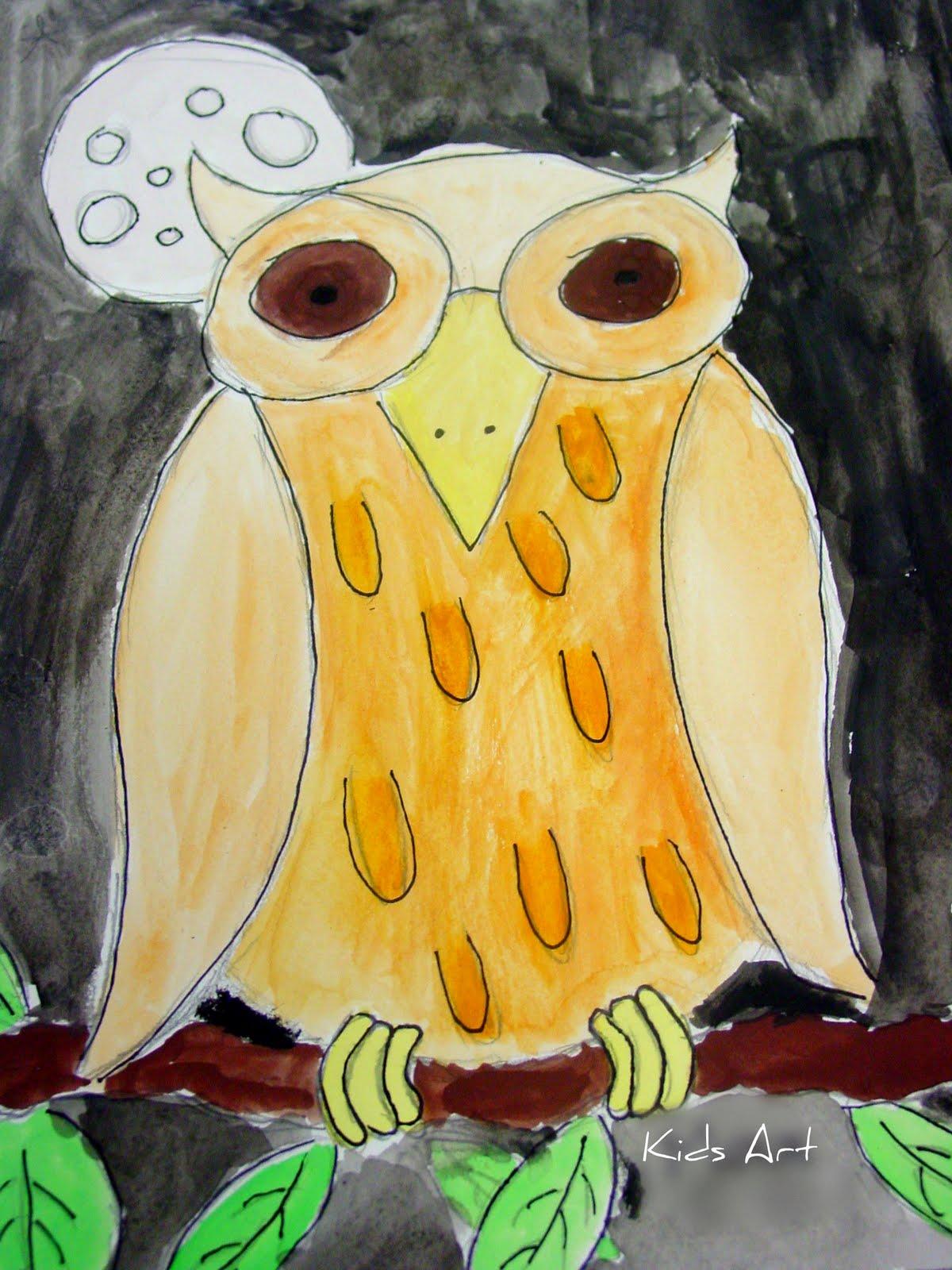 Spittin Toad Kids Art Drawing Owls