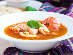Smoky tomato and seafood soup