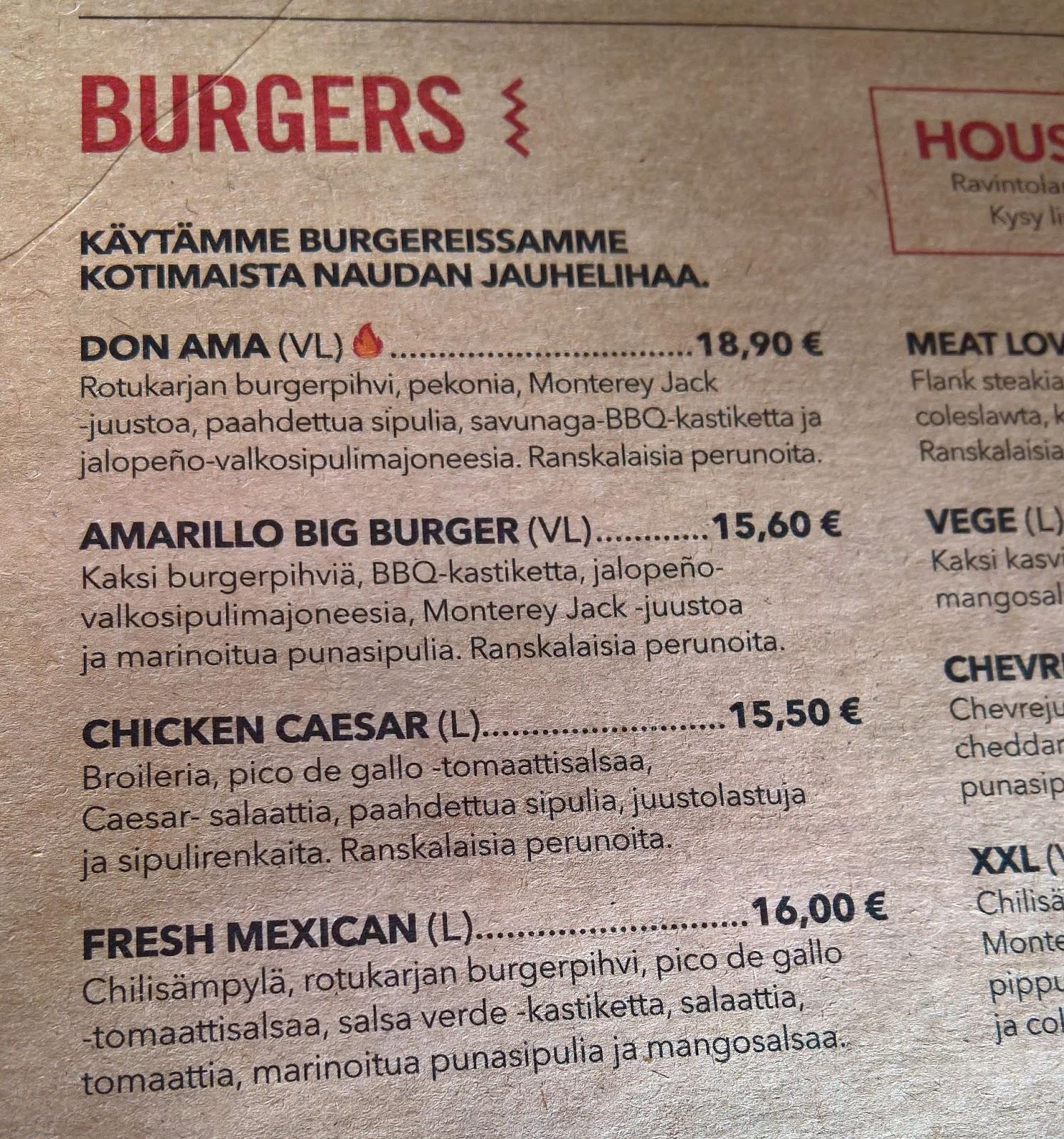 Amarillo burger hampurilaistesti Jyväskylän paras hampurilainen mallaspulla menu
