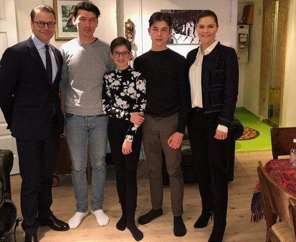 Crown Princess Victoria and Prince Daniel visited Harell Poznic family who has had Mohammed Ibrahimi as a resident at their home