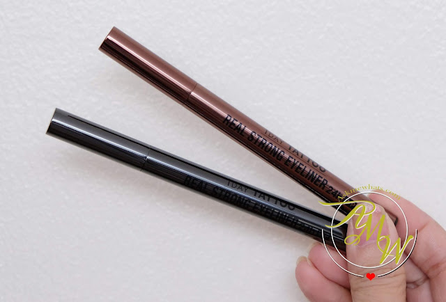 a photo of K-palette 1Day Tattoo Real Strong Water Proof Eyeliner review in Super Black and Brown Black .