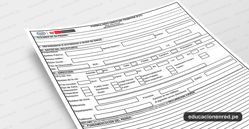 MINEDU: Descarga el «Formulario Único de Trámites - FUT» del Ministerio de Educación (.PDF Actualizado 2019) www.minedu.gob.pe