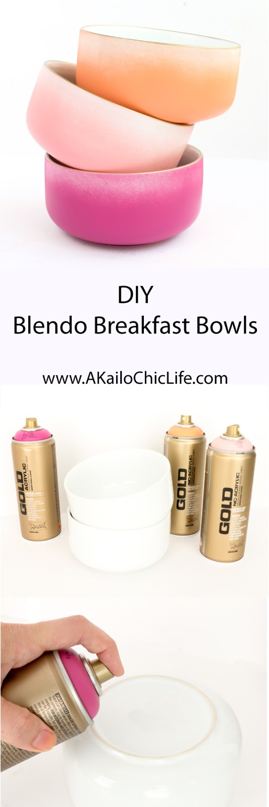 DIY Ombre Blendo Bowls - Craft cereal bowls - spray paint - montana gold spray paint - gold rimmed glasses - Ombre bowls - blendo bowls - DIY Blendo - Kitchen decor - target threshold bowls