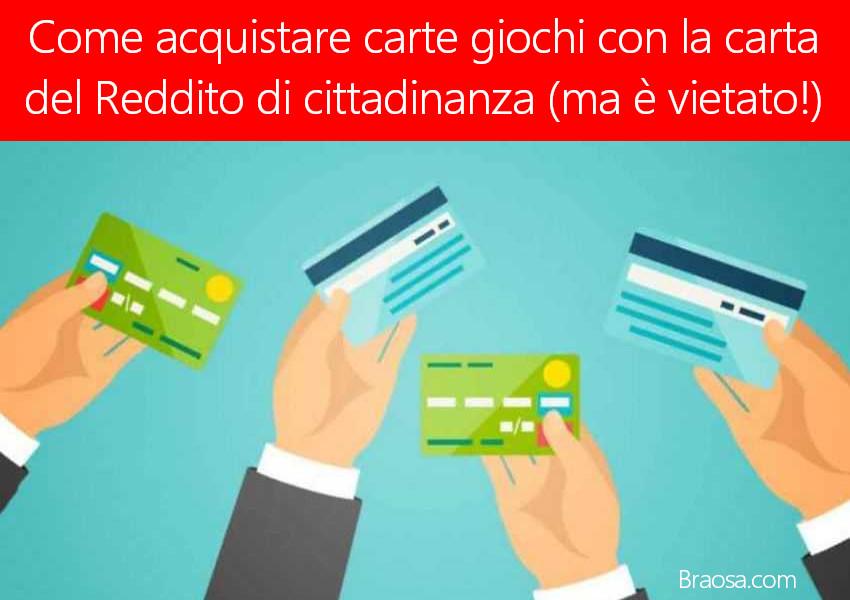 Come fare ad acquistare carte prepagate per giocare on line con la carta del reddito di cittadinanza
