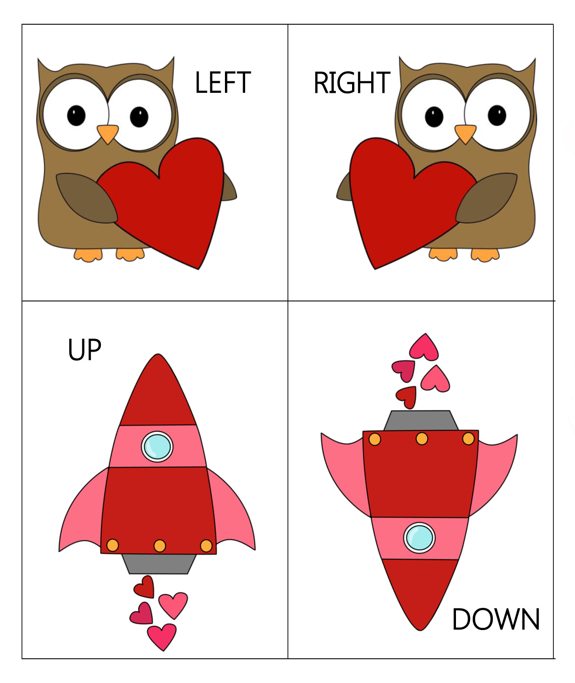 Ourhomecreations Valentine Themed Opposites Flashcards
