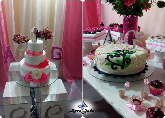 Bolo Casamento Rosa 3 andares simples