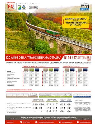 Orari e costi per gli eventi in programma per i 120 anni dall'inaugurazione della Transiberiana d'Italia