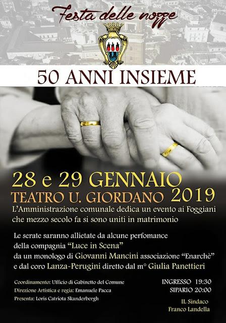 """La """"Festa delle Nozze"""" del Comune di Foggia, il 28 e 29 gennaio al Teatro """"Umberto Giordano"""""""