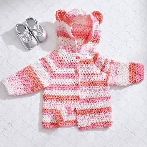 Baby Bear Crochet Hoodie - Free Pattern