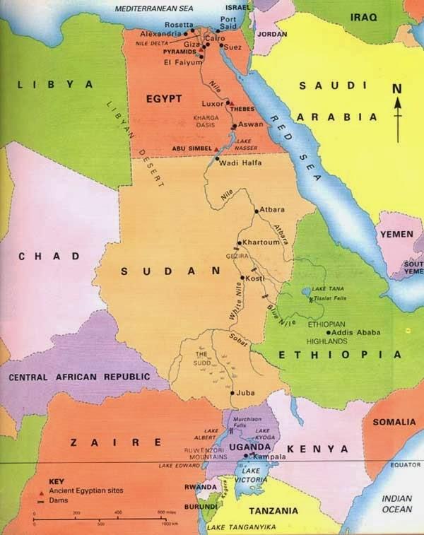 Mapa do Rio Nilo