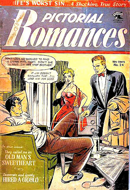 Pictorial Romances v1 #24  st. john romance comic book cover art by Matt Baker