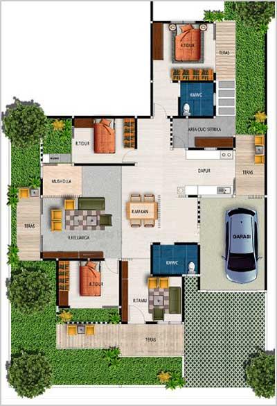 desain rumah 3 kamar tidur dan ruang sholat