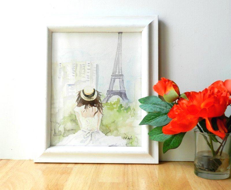 Girl in hat looking at Eiffel Tower- Original Watercolor by Elise Engh