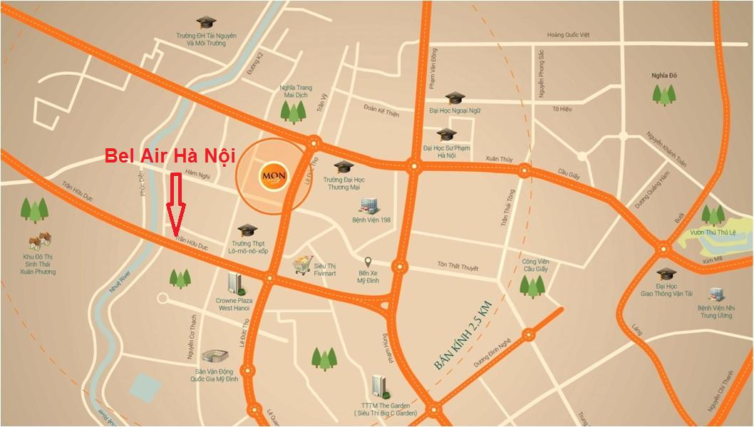 Vị trí chung cư Bel Air Trần Hữu Dực Hà Nội