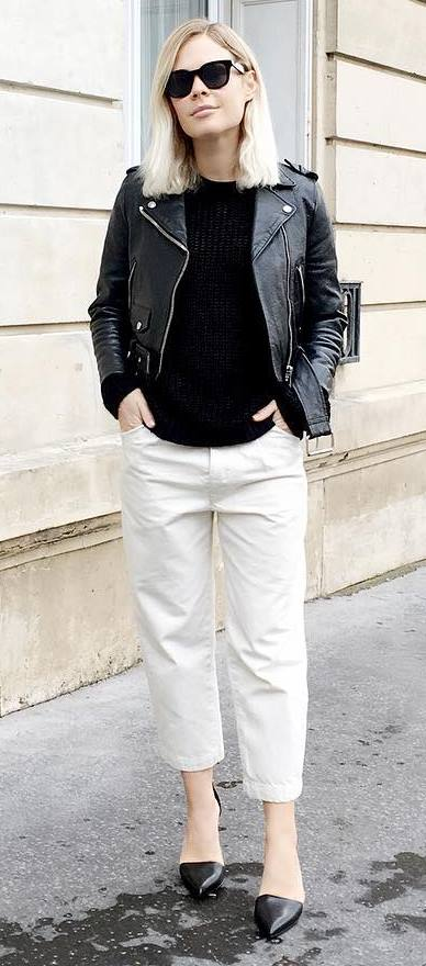 white and black outfit: biker jacket + top + pants