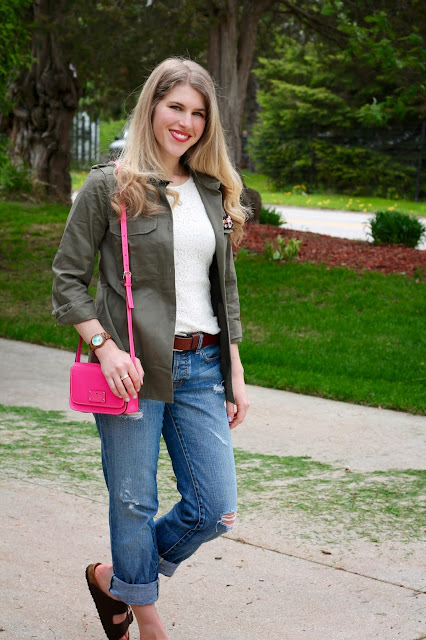 lace tank, distressed boyfriend jeans, birkenstock sandals, olive military jacket and pink kate spade crossbody bag