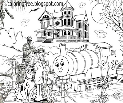 Old haunted house ghostly swamp bridge Scooby Doo coloring book picture monster train crash mystery