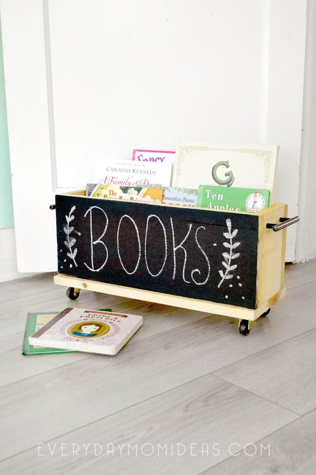 Chalkboard Book Organizer On Wheels (Easy DIY Wood Project ...