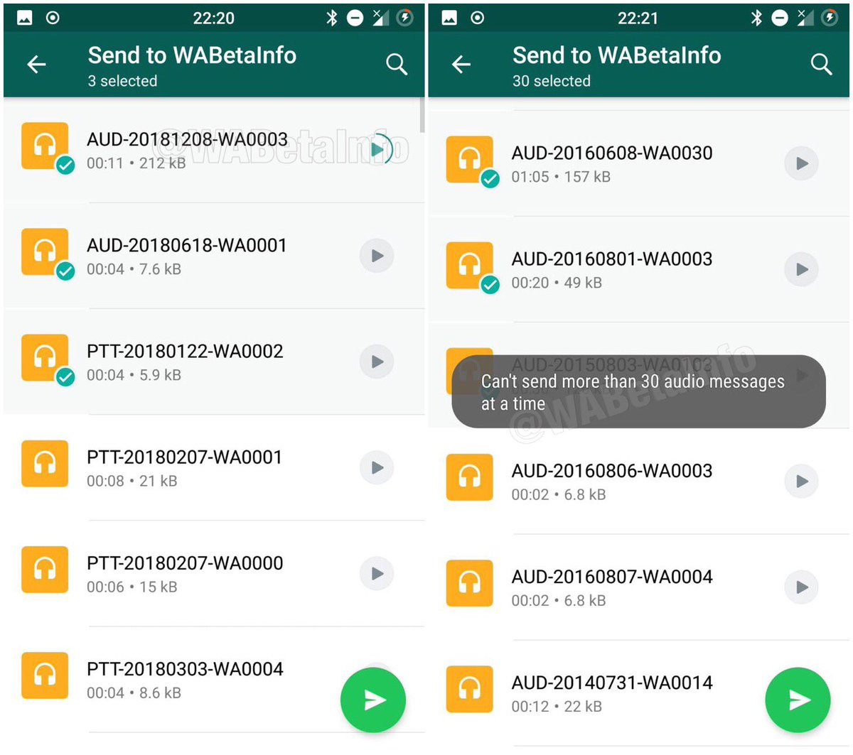 WhatsApp is working on a new redesigned section to send audio files to contact list. It supports audio preview and image preview of the audio file (if available). Max 30 audio messages at a time can be sent.