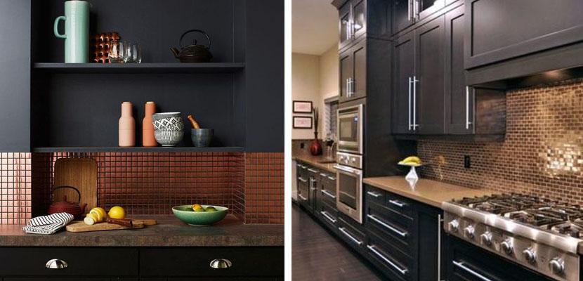 Marzua: Azulejos de cobre en la cocina