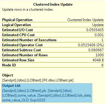 Clustered Index Update properties