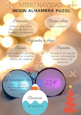 Menú para el dia de Navidad en Mesón Alhambra Puzol