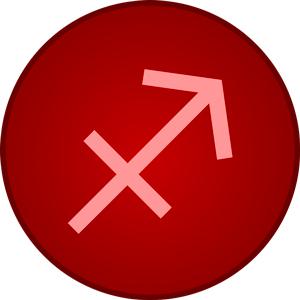 Imagen del símbolo de Sagitario dentro de un circulo rojo