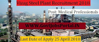 Vizag Steel Plant Recruitment 2018- Medical Professionals