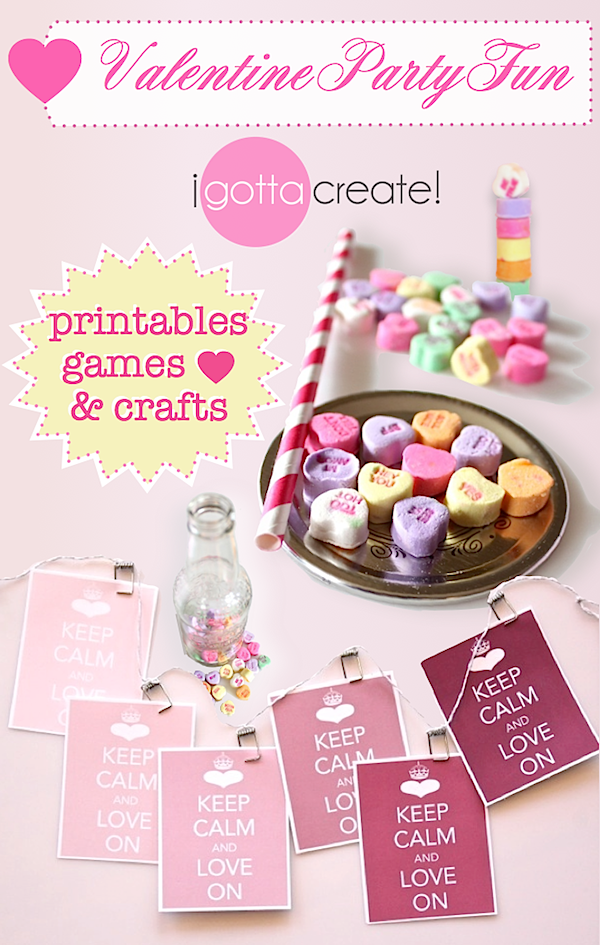 #Valentine party printables, games, crafts and more! | Visit http://igottacreate.blogspot.com