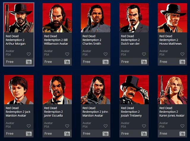 أحصل الأن على جميع الصور الشخصية لأبطال لعبة Red Dead Redemption 2 بالمجان على جهاز PS4