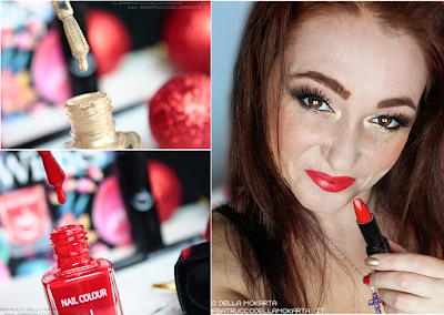review NEW YEAR 2016 nails  red gold Lipstick lipencil rosso  oro best wishes TNS cosmetics Christmas