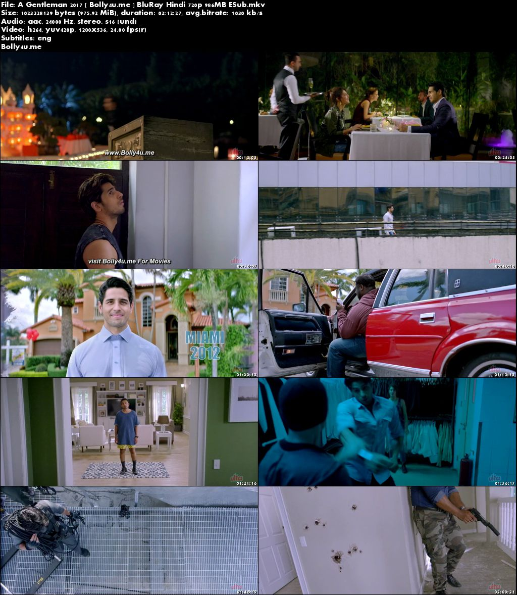 A Gentleman 2017 BluRay 950MB Full Hindi Movie Download 720p ESub