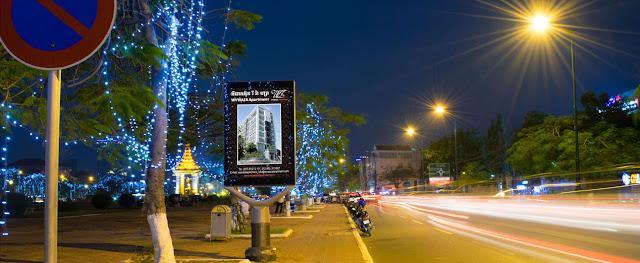 Eclairage dans les rues de Phnom Penh