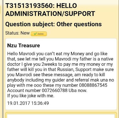 Haha! Check Out The Message Sent to MMM's Creator Mavrodi by a Nigerian