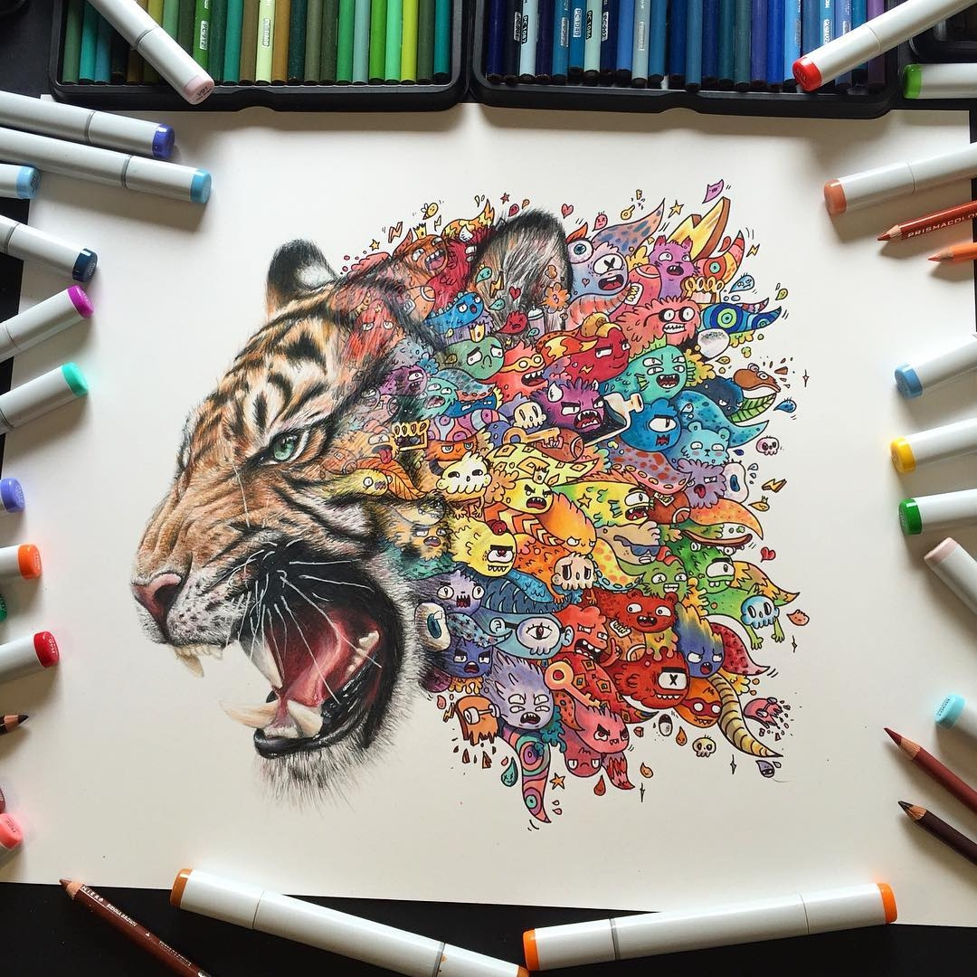 09-Tiger-Vince-Okerman-vexx-Doodle-Drawings-that-Brightenup-your-Day-www-designstack-co