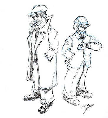 Dessin de détectives façon polar - crayonné à la mine bleue