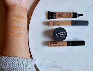 NARS Radiant Creamy Concealer Caramel, NARS Soft Matte Complete Concealer Caramel, Lancome Teint Idole Ultra Wear Camouflage, Bare Minerals Bareskin