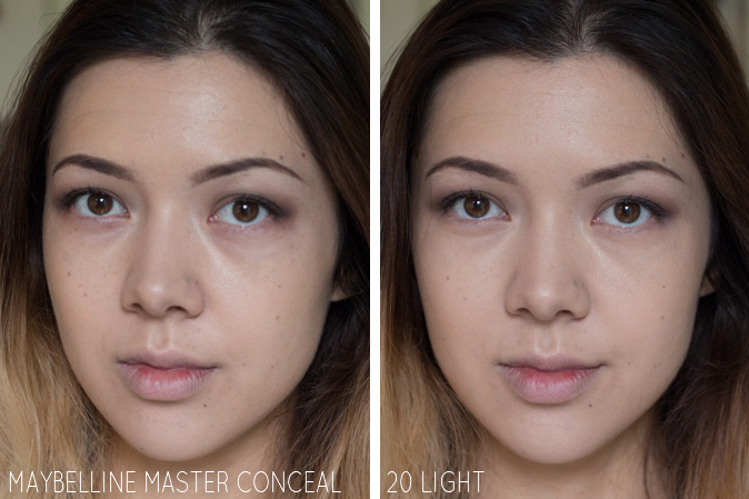 maybelline master conceal camoflaging concealer 20 light swatched review