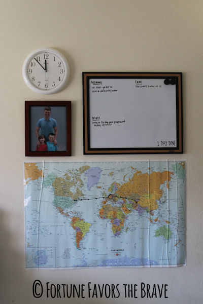 Deployment Wall - bulletin board, world map, and a clock set to service member's time #military #army #deployment