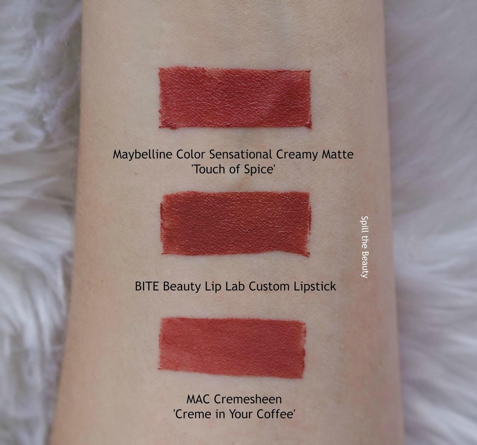 bite lip lab custom lipstick swatches comparison