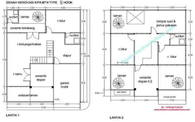 contoh gambar denah rumah btn asri 2