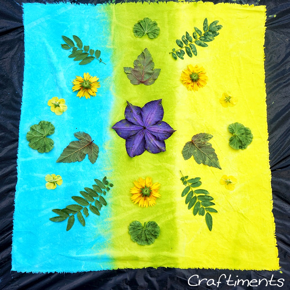 arrange flowers and leaves on fabric